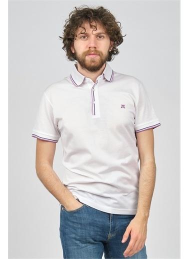 Arslanlı Arslanlı Erkek Şerit Detaylı Polo Yaka T-Shirt  Beyaz